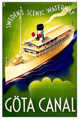 Painting - Steamer Ship On Sweden's Scenic Waterway Gota Canal - Vintage Travel Poster - Green And Blue by Studio Grafiikka