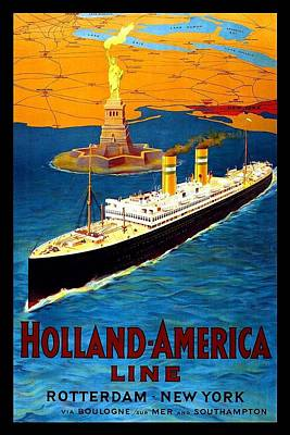 Royalty-Free and Rights-Managed Images - Steamer ship with Statue of Liberty in backdrop - Vintage Travel Poster for Holland-America Line by Studio Grafiikka