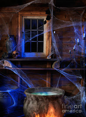Haunted House Photograph - Steaming Cauldron In A Witch Cabin by Oleksiy Maksymenko