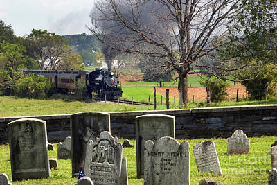 Steaming Past The Old Amish Cemetery Art Print