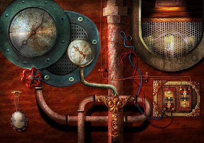 Steampunk - Controls Art Print by Mike Savad