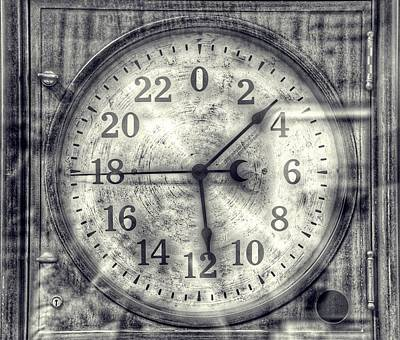 Steampunk Royalty-Free and Rights-Managed Images - Steampunk - 24 Hour Antique Clock Cinematic Black and White by Marianna Mills