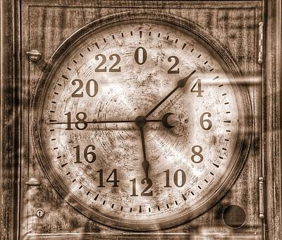 Steampunk Royalty-Free and Rights-Managed Images - Steampunk - 24 Hour Antique Clock Sepia  by Marianna Mills