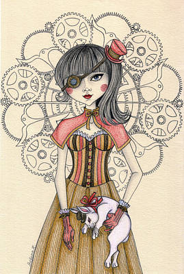 Steampunk Drawing - Steampunk Alice And The White Rabbit by Snezana Kragulj