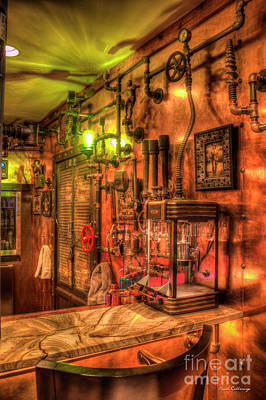 Steampunk Royalty-Free and Rights-Managed Images - Steampunk Architecture Atlanta ManCave Bar Art by Reid Callaway