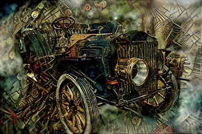 Mixed Media - Steampunk Automobile by Lilia D