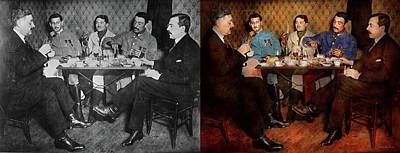Photograph - Steampunk - Bionic Three Having Tea 1917 - Side By Side by Mike Savad