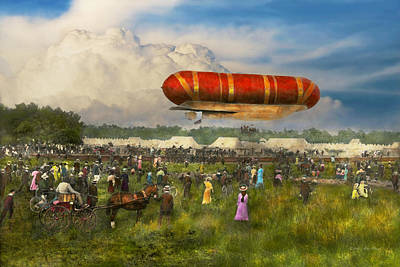 Hot Dogs Photograph - Steampunk - Blimp - Launching Nulli Secundus II 1908 by Mike Savad