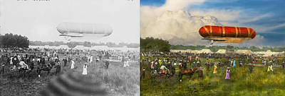 Photograph - Steampunk - Blimp - Launching Nulli Secundus II 1908 - Side By Side by Mike Savad