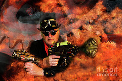 Photograph - Steampunk Bob Burning Man by Bob Christopher