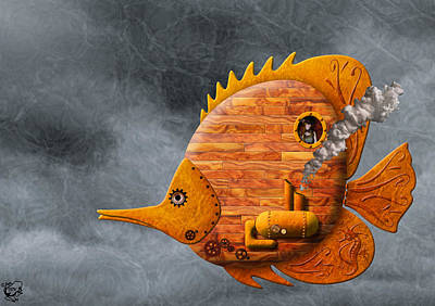 Metal Embossing Digital Art - Steampunk Butterflyfish II by Stephen Kinsey
