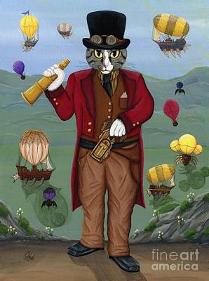 Painting - Steampunk Cat Guy - Victorian Cat by Carrie Hawks