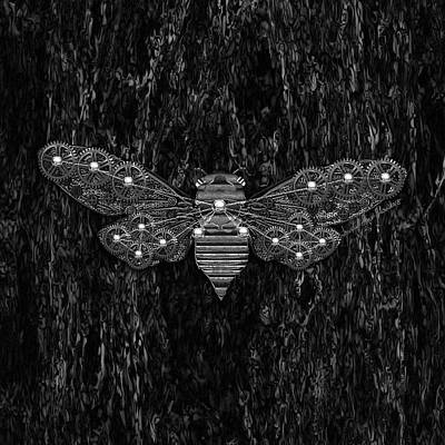 Digital Art - Steampunk Cicada - Black And Grey by Iowan Stone-Flowers