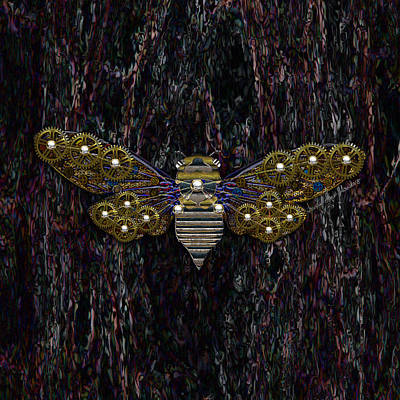 Digital Art - Steampunk Cicada - Color by Iowan Stone-Flowers