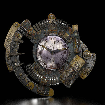 Steampunk Royalty-Free and Rights-Managed Images - Steampunk Clock by Carlene Smith