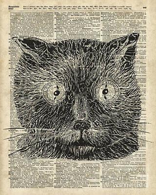 Trippy Drawing - Steampunk Clock Cat Eyes by Jacob Kuch