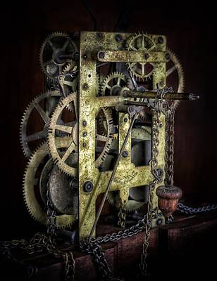 Old Grandfather Time Photograph - Steampunk Clockwork  by LeAnne Perry