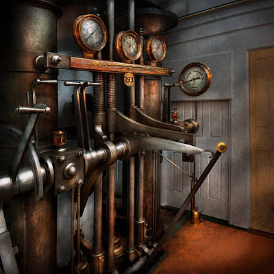 Photograph - Steampunk - Controls - The Steamship Control Room by Mike Savad