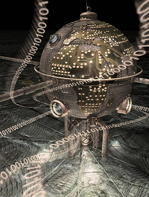 Manipulation Photograph - Steampunk Data Hub by Keith Kapple