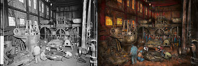 Steampunk - Final Inspection 1915 - Side By Side Art Print by Mike Savad