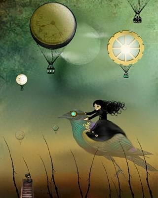 Goth Girl Digital Art - Steampunk Flight Of Fantasy by Charlene Zatloukal