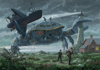 Digital Art - Steampunk Giant Crab Attacks Lighthouse by Martin Davey