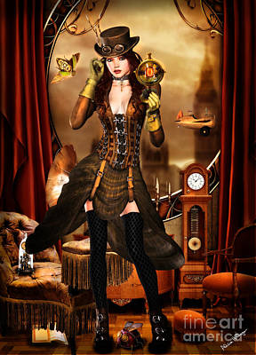 Digital Art - Steampunk Girl by Alicia Hollinger