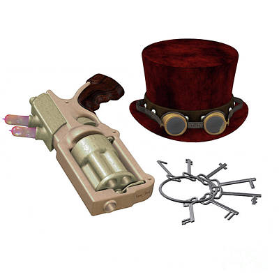 Food And Flowers Still Life Rights Managed Images - Steampunk Hat Goggles Gun Keys Royalty-Free Image by Corey Ford