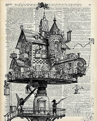 Drawing - Steampunk House by Jacob Kuch