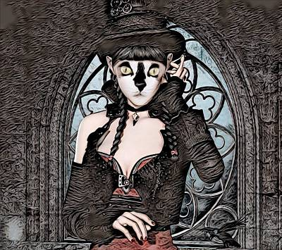 Steampunk Kitty By Artful Oasis Art Print