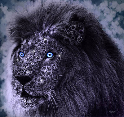 Digital Art - Steampunk Lion by Artful Oasis