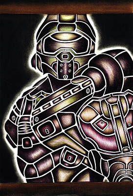 Gradient Drawing - Steampunk Master Chief  by Katy Irons