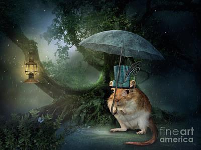 Lantern Digital Art - Steampunk Mouse by Babette Van den Berg