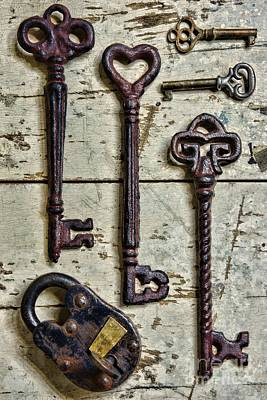 Folk Art Photograph - Steampunk - Old Skeleton Keys by Paul Ward