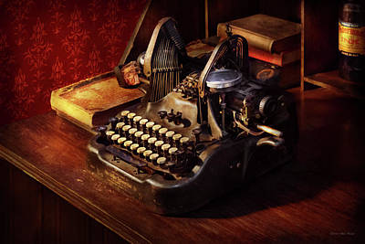Photograph - Steampunk - Oliver's Typing Machine by Mike Savad