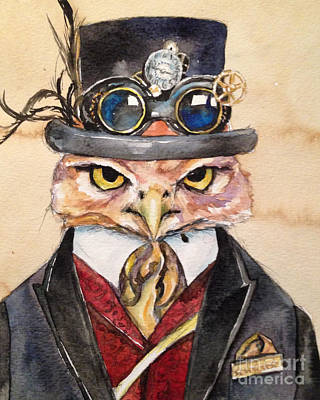 Art Print featuring the painting Steampunk Owl Mayor by Christy  Freeman