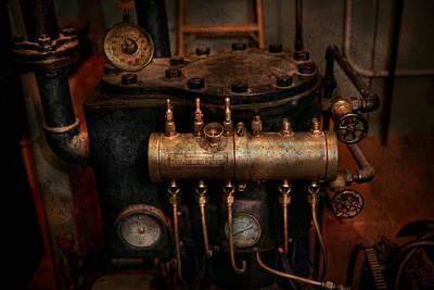 Guage Photograph - Steampunk - Plumbing - The Valve Matrix by Mike Savad