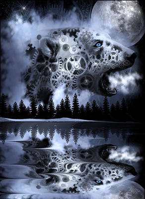 Steampunk Polar Bear Landscape Art Print