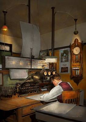 Photograph - Steampunk - Rr - The Train Dispatcher 1943 by Mike Savad