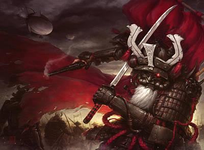 Steampunk Samurai Art Print by James Ng