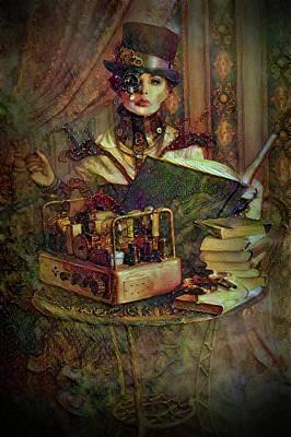 Mixed Media - Steampunk Scientist Lady by Lilia D