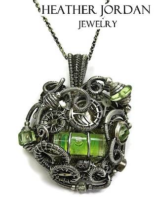 Sterling Silver Jewelry - Steampunk Spirit Level Pendant In Antiqued Sterling Silver With Uranium Glass And Watch Gears/parts by Heather Jordan