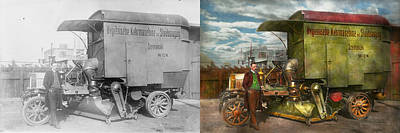 Steampunk - Street Cleaner - The Hygiene Machine 1910 - Side By Side Art Print by Mike Savad