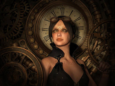 Girls Mixed Media - Steampunk Time Keeper by Britta Glodde