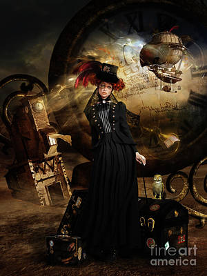 Emerson Digital Art - Steampunk Time Traveler by Shanina Conway