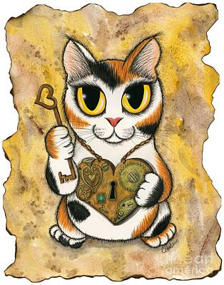 Mixed Media - Steampunk Valentine Cat by Carrie Hawks