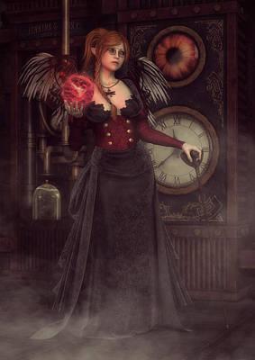 Digital Art - Steampunk Warlock by Rachel Dudley