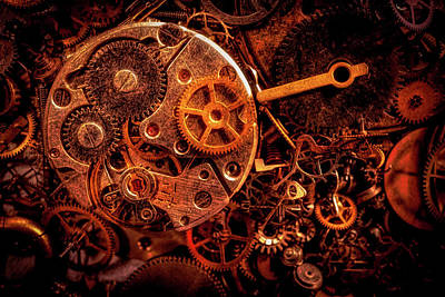 Photograph - Steampunk - Watch Parts by Lilia D