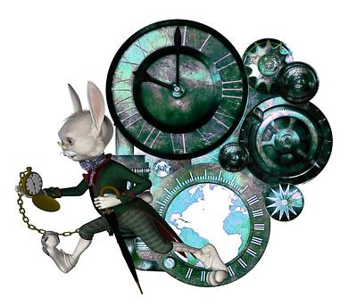 Digital Art - Steampunk White Rabbit by Lynn-Marie Gildersleeve