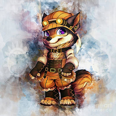 Digital Art - Steampunk Wolf by Ian Mitchell